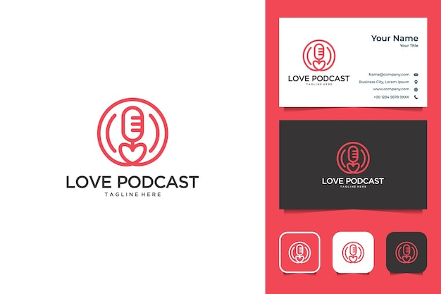Love podcast with line art style logo design and business card