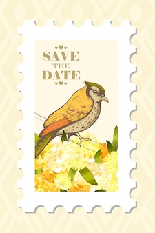 Love post stamp with bird.