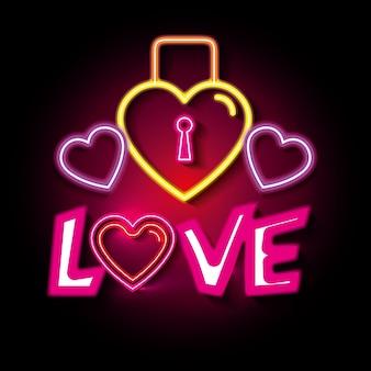 Любовный плакат с неоновыми огнями дизайн векторной иллюстрации
