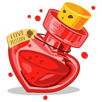 Love potion in glass bottle. cartoon vector illustration isolated