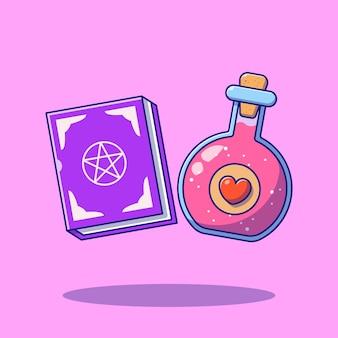 Love potions and magic book cartoon flat illustrations.