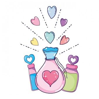 Love powder potion bag and bottles