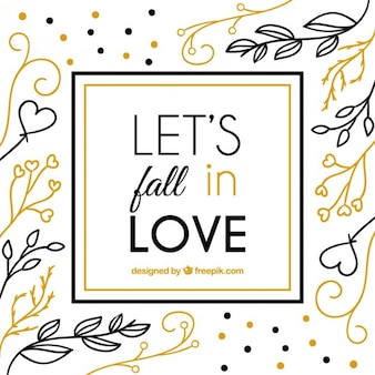 Love quote on a hand drawn leaves background