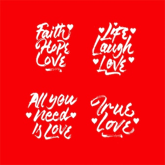 Love quote lettering collection set