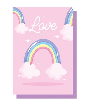 愛の虹雲装飾お祝い漫画カードデザイン