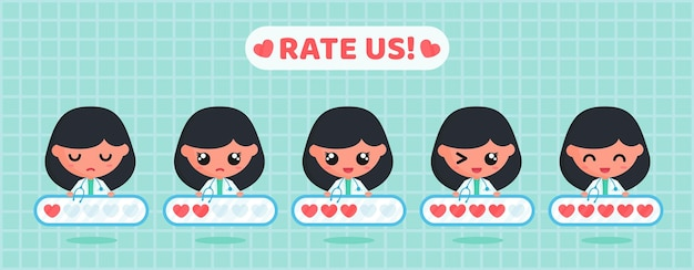 Love rating board for customer satisfaction survey of medical service with cute doctor character