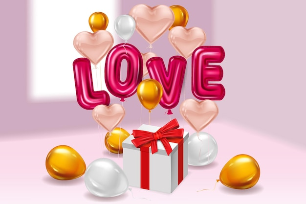 Love red helium metallic glossy balloons realistic text, box gift, heart shape flying pink golden balloons