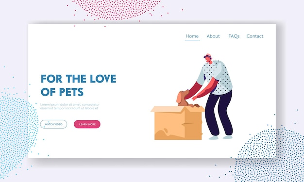 Love and relations with animals, people and pets. happy cheerful man find little puppy in cardboard box, taking him on hands, website landing page, web page. cartoon flat vector illustration