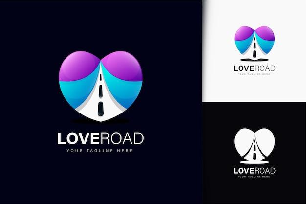 그라디언트가 있는 사랑 도로 로고 디자인