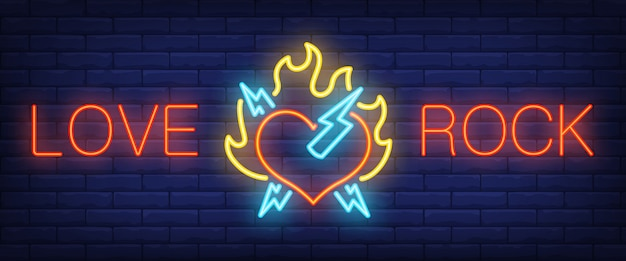 Love, rock neon text with heart on fire and lightning