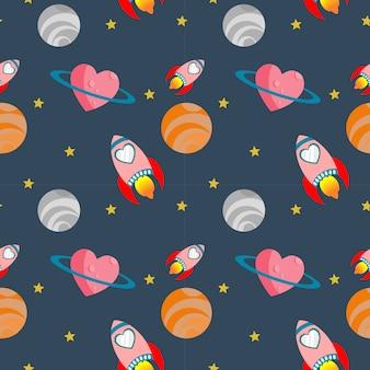 Love rocket seamless pattern.