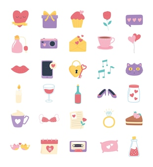 Love and romance icons set, heart gift message flower ring lips padlock calendar in cartoon style  illustration