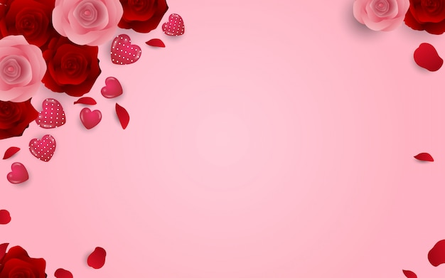 Love and romantic background with flowers and heart shape