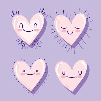 Любовь романтические мультяшные сердца очаровательные мультяшные иконки