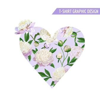 プリント、ファブリック、tシャツ、ポスターのロマンチックなフローラルハートのデザインが大好きです。白い牡丹の花と春の背景。ベクトルイラスト