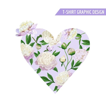 Love romantic floral heart design for prints, fabric, t-shirt, posters. spring background with white peony flowers. vector illustration