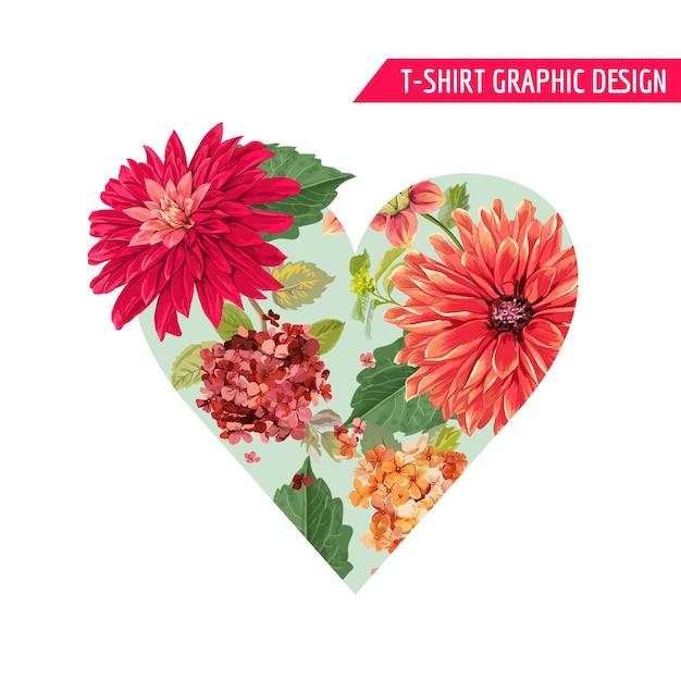 プリント、ファブリック、tシャツ、ポスターに赤いアスターの花を使ったロマンチックなフローラルハートの春夏のデザインが大好きです。バレンタインデーの熱帯植物の背景。ベクトルイラスト