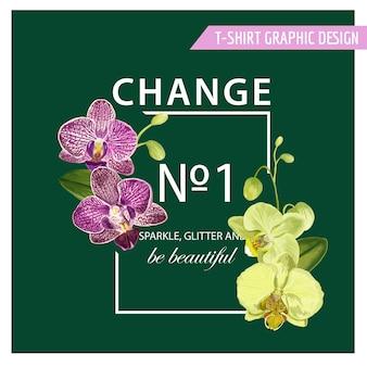 プリント、ファブリック、tシャツ、ポスターのための紫色の蘭の花とロマンチックな花の春夏のデザインが大好きです。バレンタインデーの熱帯植物の背景。ベクトルイラスト
