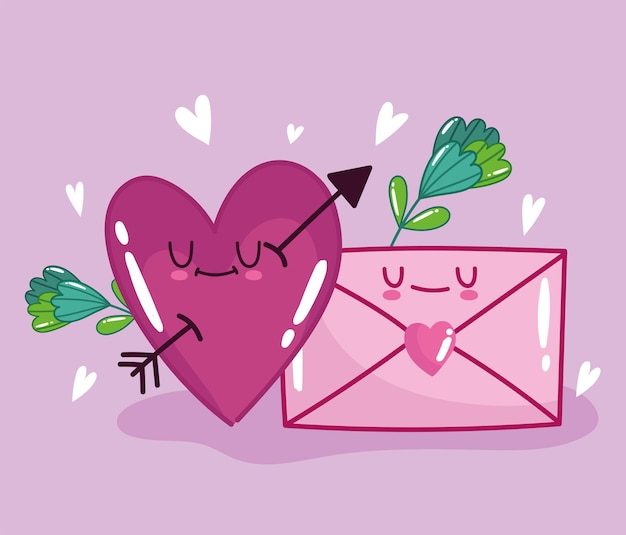 漫画のスタイルのデザインでロマンチックな心と封筒のメッセージの花が大好きです
