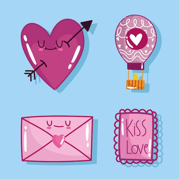 Love romantic heart mail message letter card in cartoon style design