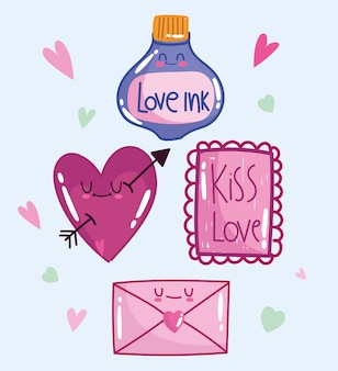 Love romantic heart message letter and ink in cartoon style design