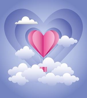 Love romantic hot air balloon in clouds creative design vector digital illustration image