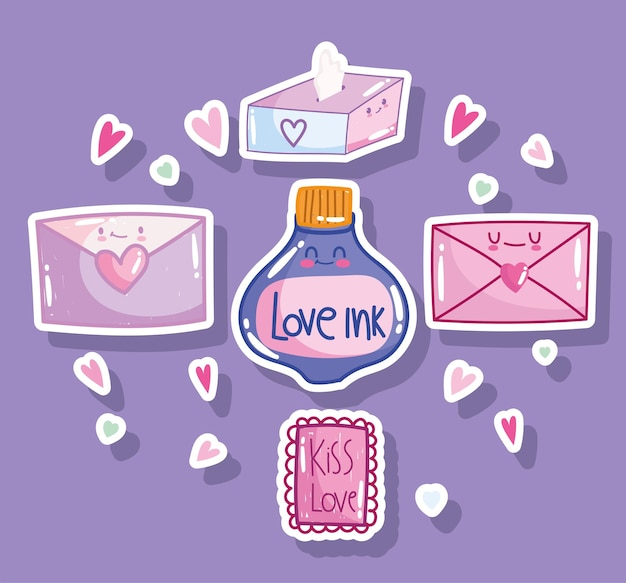 Love romantic message letter envelope mail card hearts in cartoon style design