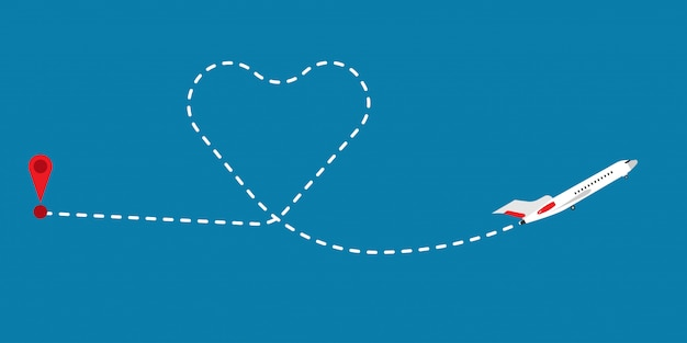 Love route path flight airplane vector illustration