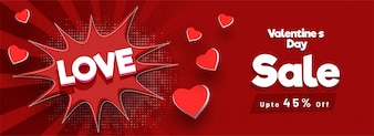 Love sale banner for Valentine's Day celebrations.