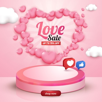 Love sale social media flyer template with 3d love and social media like button