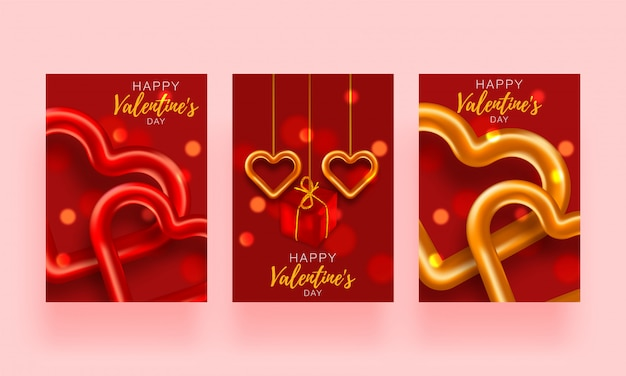 Love set heart valentines. romantic day backround poster to promotion. special template to love story. romantic banner.