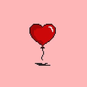 Воздушный шар в форме любви в стиле пиксель-арт