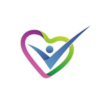 Love shape health care logo vector
