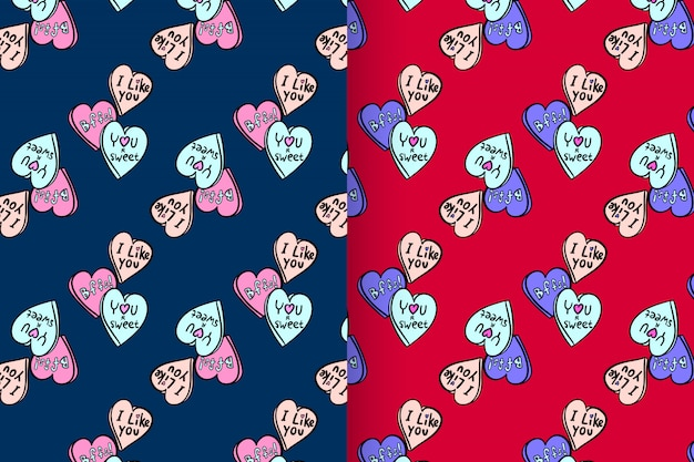 Love shape with pattern vector set