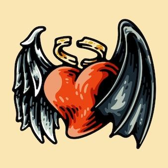베이지 색에 고립 된 날개를 가진 사랑 모양