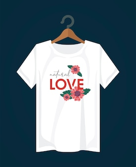 Love shirt print wear with flowers in clothespin illustration design
