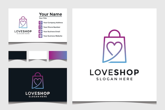 Love shop logo template with business card design