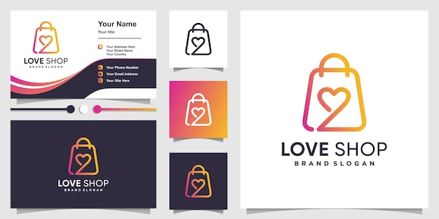 Love shop logo with creative abstract concept and business card design