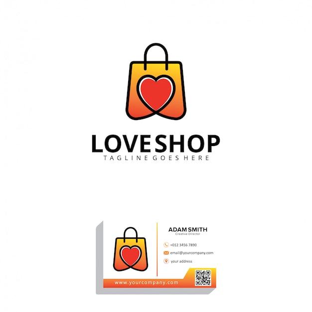 Шаблон логотипа love shop