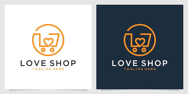 ショッピングラインアートのロゴデザインが大好き