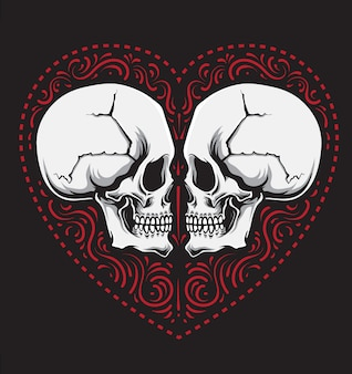 Love skull ornament
