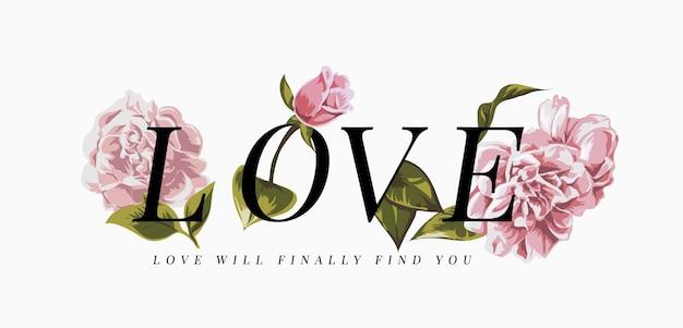 ピンクの花のイラストと愛のスローガン