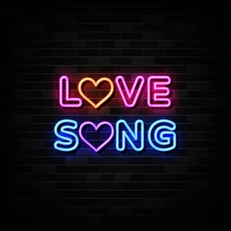 Love song neon signs   love music vector