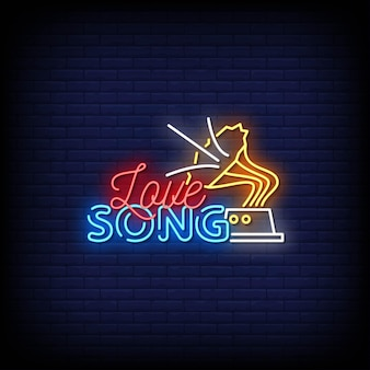 Love song neon signs style text