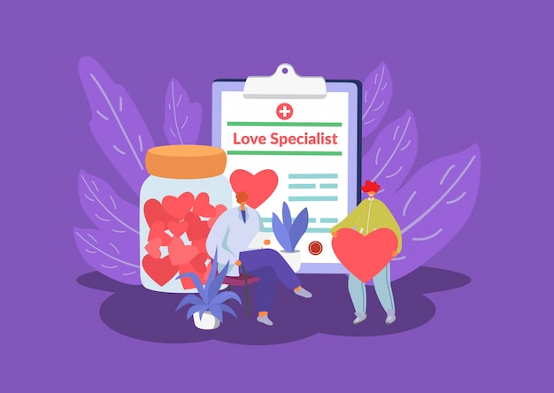 Love specialist, marriage counselling psychotherapy session with tiny people sexologist office, heart symbol flat illustration.