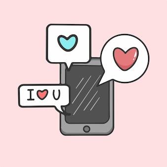 Love speech bubble on phone symbol valentine vector illustration