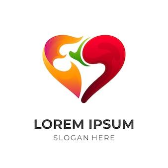 Концепция логотипа love spicy, любовь, огонь и перец чили, комбинированный логотип с красочным 3d стилем