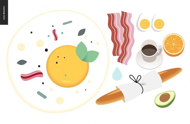 Love, spring, breakfast composition