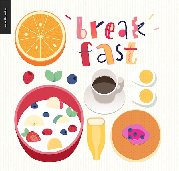 Love, spring, breakfast lettering composition