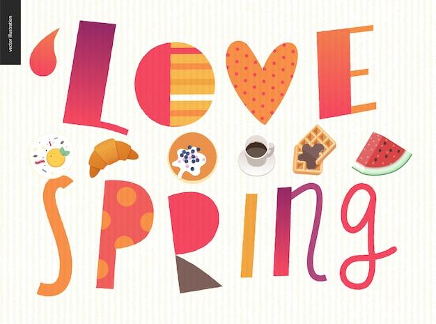 Love, spring, breakfast lettering composition